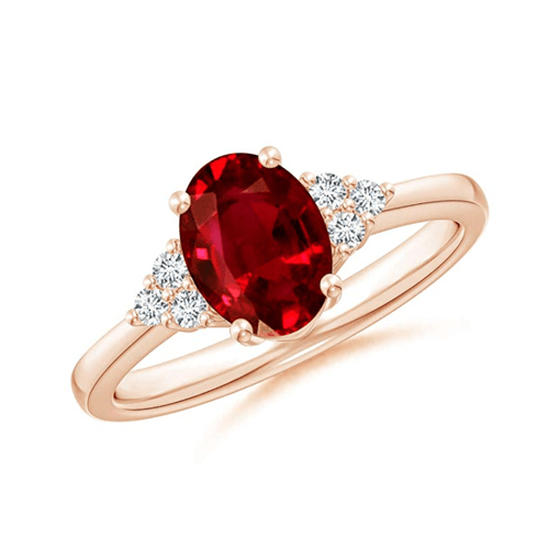 Angara - Solitaire Oval Ruby and Diamond Promise Ring 1