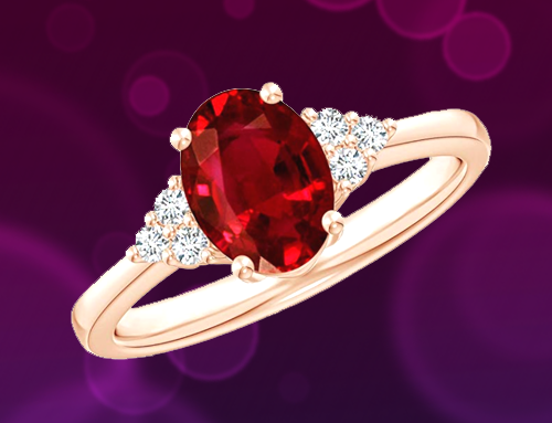 Angara – Solitaire Oval Ruby and Diamond Promise Ring