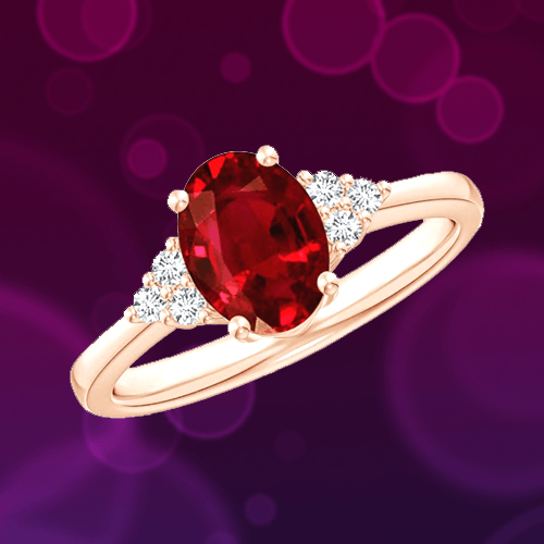 Angara - Solitaire Oval Ruby and Diamond Promise Ring 1A