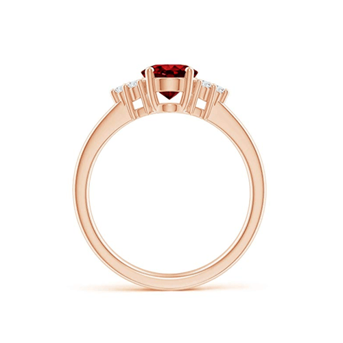 Angara - Solitaire Oval Ruby and Diamond Promise Ring 2
