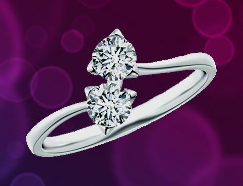 Angara – Twist 2 Stone Platinum Diamond Promise Ring