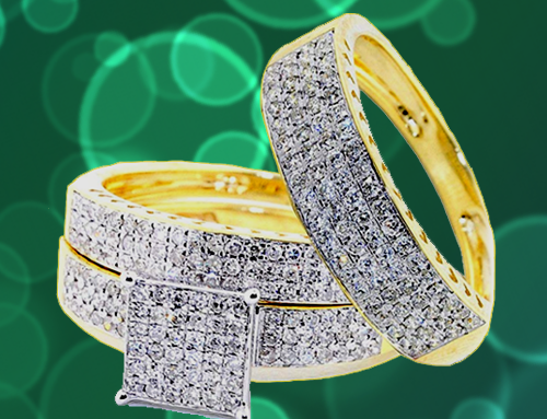 IdealCutGems – 10K Yellow Gold His and Her 3pc Promise Ring Set