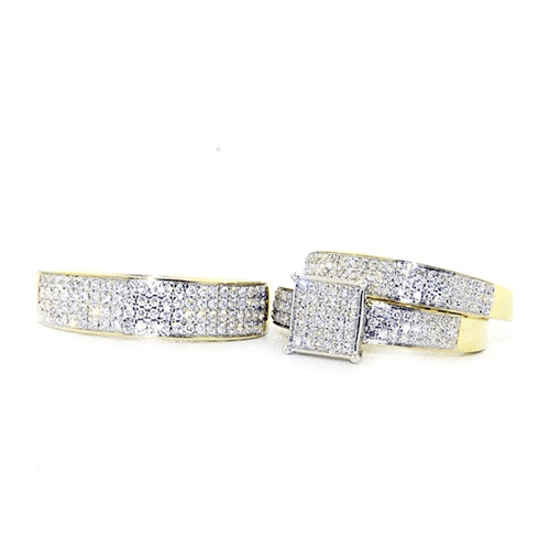 IdealCutGems - 10K Yellow Gold His and Her 3pc Promise Ring Set 2