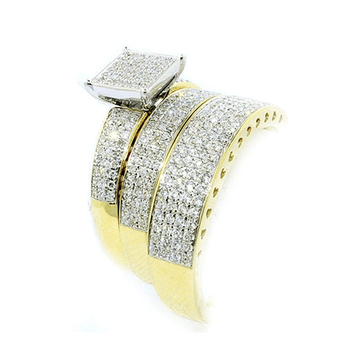 IdealCutGems - 10K Yellow Gold His and Her 3pc Promise Ring Set 5