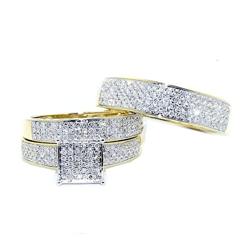 IdealCutGems - 10K Yellow Gold His and Her 3pc Promise Ring Set 6