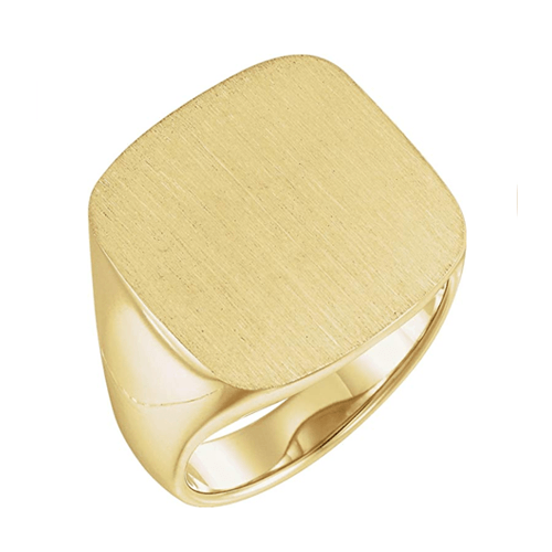 The Men's Jewelry Store - Men's Closed Back Square Signet Ring, 18k Yellow Gold 1