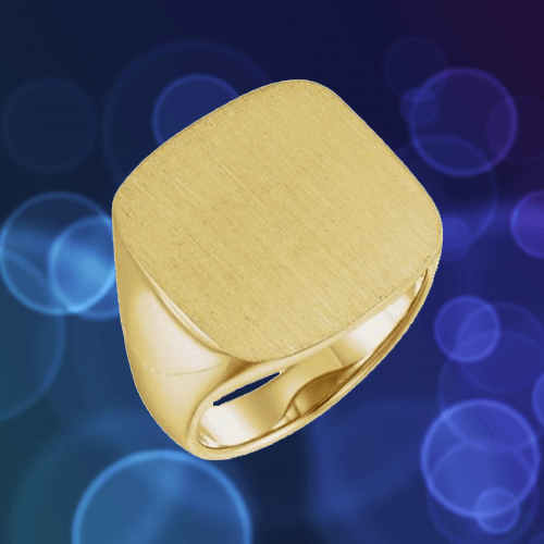 The Men's Jewelry Store - Men's Closed Back Square Signet Ring, 18k Yellow Gold 1B