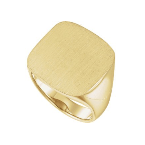 The Men's Jewelry Store - Men's Closed Back Square Signet Ring, 18k Yellow Gold 3