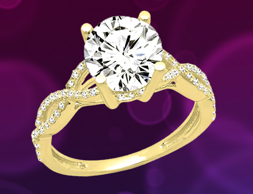 Dazzlingrock Collection – 14K Gold Round Diamond Promise Ring