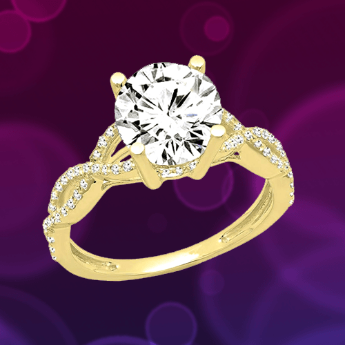 Dazzlingrock Collection - 14K Gold Round Diamond Promise Ring 1A