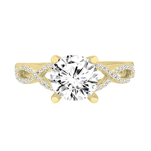 Dazzlingrock Collection - 14K Gold Round Diamond Promise Ring 3
