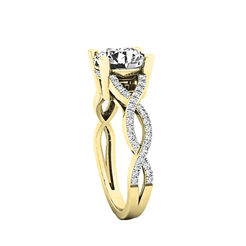 Dazzlingrock Collection - 14K Gold Round Diamond Promise Ring 5