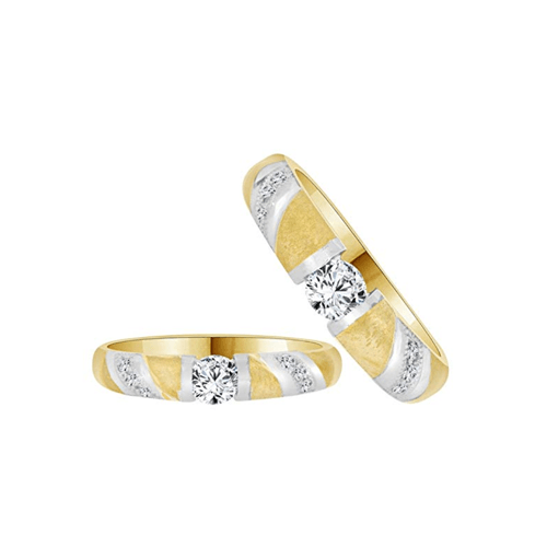 GiveMeGold - 14k Yellow Gold CZ Crystals Couple Promise Rings 1