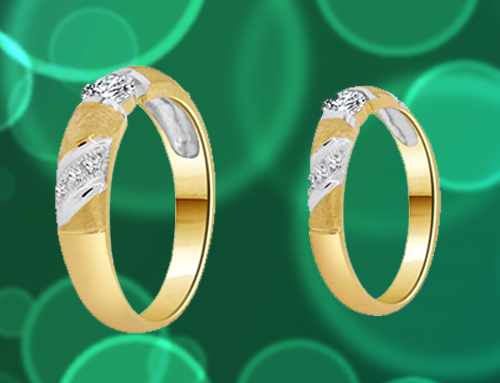 GiveMeGold – 14k Yellow Gold CZ Crystals Couple Promise Rings