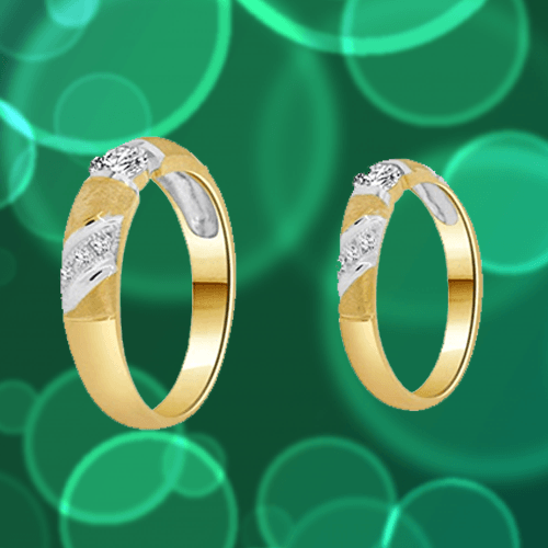 GiveMeGold - 14k Yellow Gold CZ Crystals Couple Promise Rings 1A