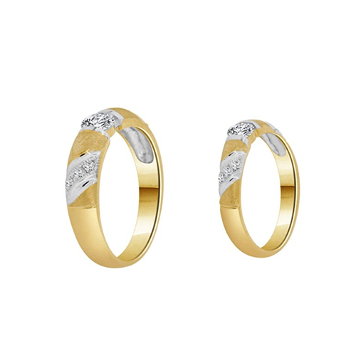 GiveMeGold - 14k Yellow Gold CZ Crystals Couple Promise Rings 2