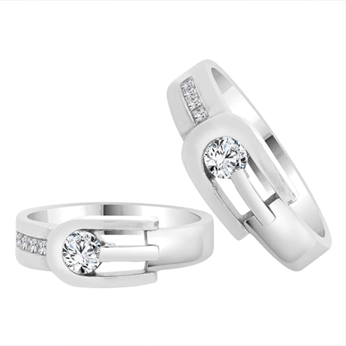 GiveMeGold - His & Her Matching Duo 14k White-Gold CZ Crystals Promise Rings 1