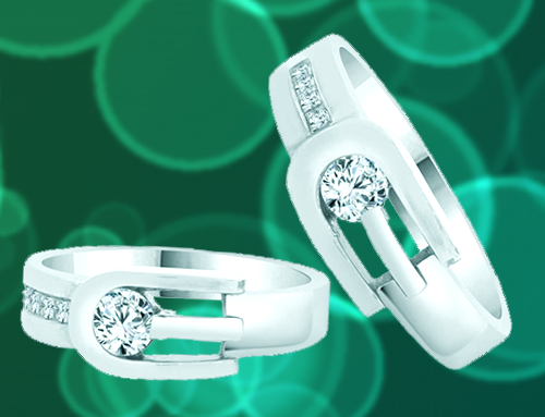 GiveMeGold – His & Her Matching Duo 14k White-Gold CZ Crystals Promise Rings