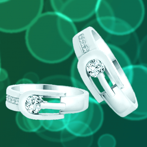 GiveMeGold - His & Her Matching Duo 14k White-Gold CZ Crystals Promise Rings 1A
