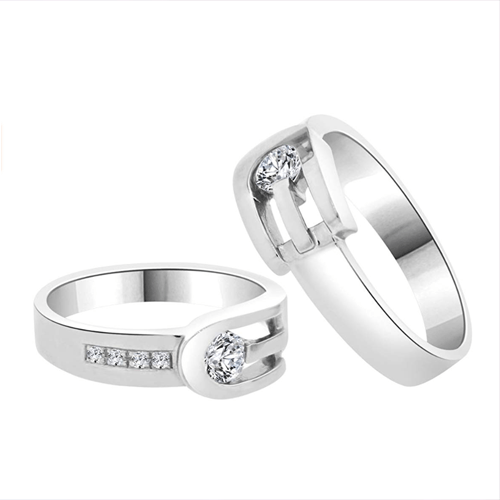 GiveMeGold - His & Her Matching Duo 14k White-Gold CZ Crystals Promise Rings 2