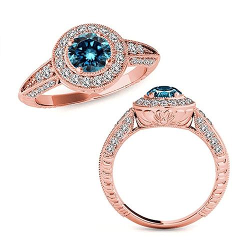 Jascina - Beautiful 2.33 Carat 14K Rose-Gold Blue Diamond Promise Ring 1