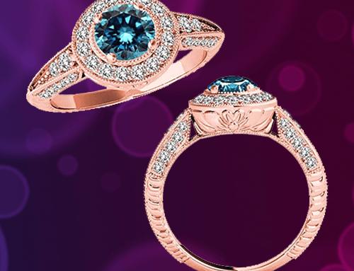 Jascina – 2.33 Carat 14K Rose-Gold Blue Diamond Promise Ring