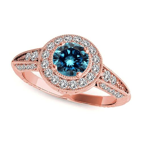 Jascina - Beautiful 2.33 Carat 14K Rose-Gold Blue Diamond Promise Ring 2