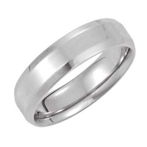 The Men's Jewelry Store - 14k White-Gold Beveled Edge Promise Ring 1