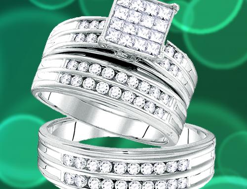 The Diamond Deal – 14kt White Gold Princess Couple Promise Ring Set