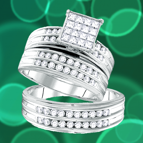 The Diamond Deal - 14kt White Gold Princess Couple Promise Ring Set 1A