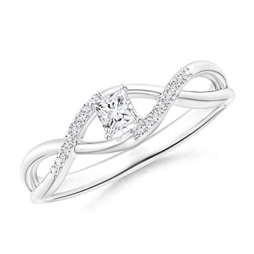 Angara - Diamond White-Gold Infinity Swirl Promise Ring 1