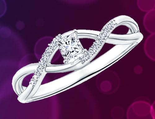 Angara – Diamond White-Gold Infinity Swirl Promise Ring