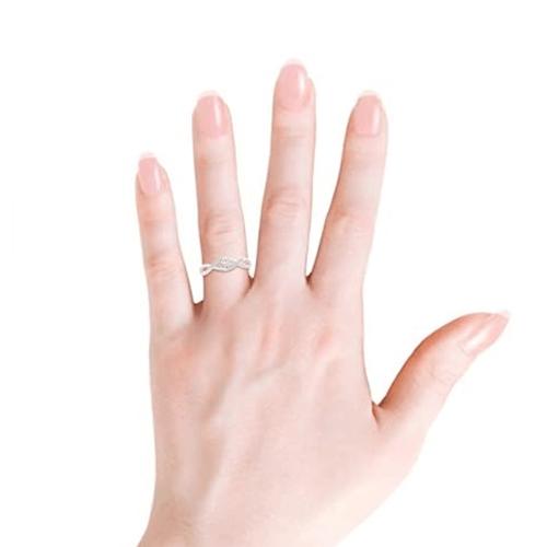 Angara - Diamond White-Gold Infinity Swirl Promise Ring 3