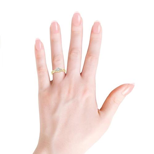 Angara - April Birthstone Infinity Twist Round Diamond Promise Ring 3